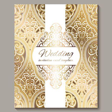 Wedding invitation card with gold shiny eastern and baroque rich foliage. Ornate islamic background for your design. Islam, Arabic, Indian, Dubai Векторная Иллюстрация