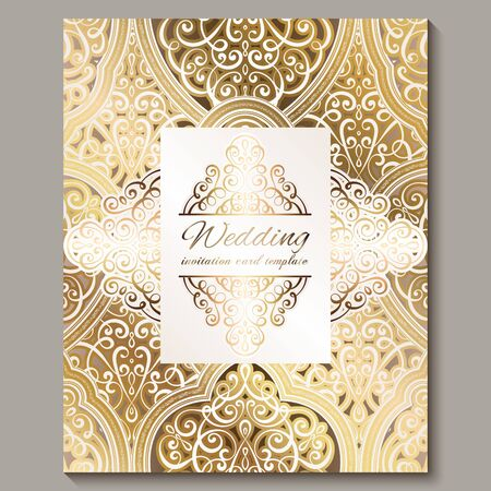 Wedding invitation card with gold shiny eastern and baroque rich foliage. Ornate islamic background for your design. Islam, Arabic, Indian, Dubai Vector Illustration