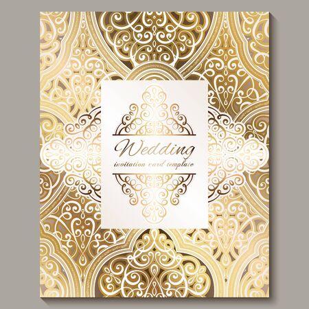 Zaproszenie na ślub ze złotym błyszczącym wschodnim i barokowym bogatym ulistnieniem. Ozdobny islamski tło dla swojego projektu. Islam, arabski, indyjski, Dubaj Ilustracje wektorowe