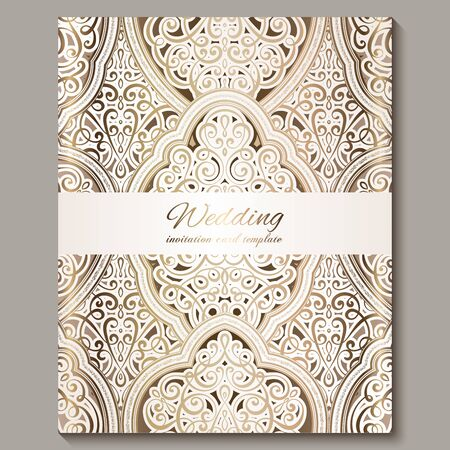 Wedding invitation card with gold shiny eastern and baroque rich foliage. Ornate islamic background for your design. Islam, Arabic, Indian, Dubai