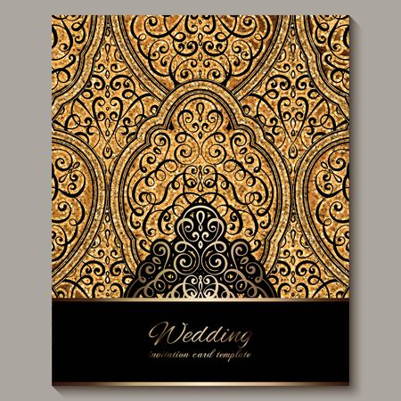 Wedding invitation card with black and gold shiny eastern and baroque rich foliage with sparkly glitter. Ornate islamic background for your design. Islam, Arabic, Indian, Dubai Illustration