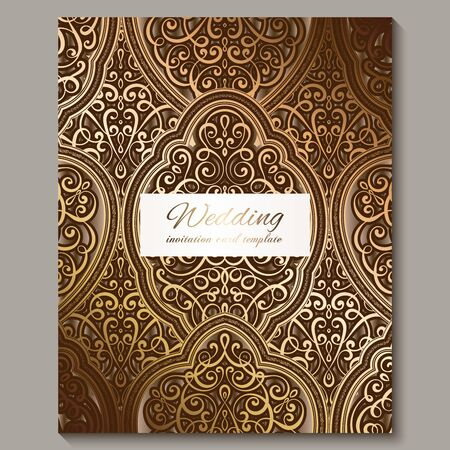 Wedding invitation card with bronze and gold shiny eastern and baroque rich foliage. Ornate islamic background for your design. Islam, Arabic, Indian, Dubai