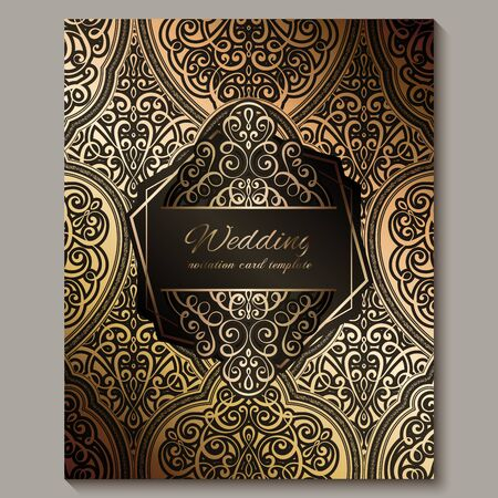 Wedding invitation card with black and gold shiny eastern and baroque rich foliage. Ornate islamic background for your design. Islam, Arabic, Indian, Dubai
