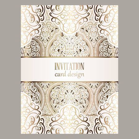 Wedding invitation card with gold shiny eastern and baroque rich foliage. Illustration