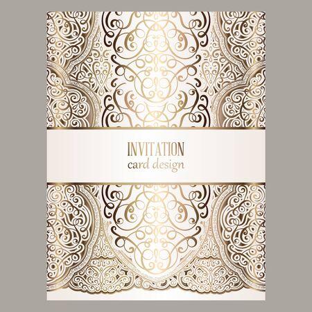 Hochzeitseinladungskarte mit goldglänzenden östlichen und barocken reichen Laub.