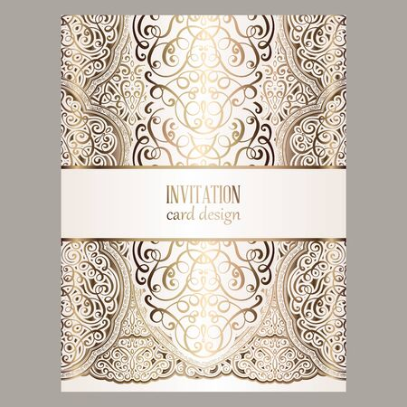 Wedding invitation card with gold shiny eastern and baroque rich foliage.