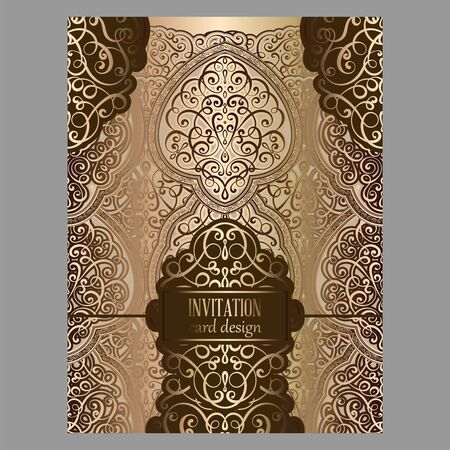 Wedding invitation card with bronze and gold shiny eastern and baroque rich foliage.