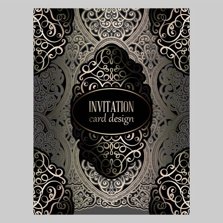 Wedding invitation card with gray and gold gold shiny eastern and baroque rich foliage. Ornate islamic background for your design. Islam, Arabic, Indian, Dubai Illustration