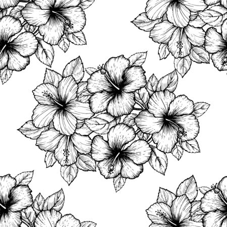 Hand drawn tropical hibiscus flower. Seamless floral pattern with leaves on white background. Exotic engraving wallpaper for textile, surface design or banner. Great template for coloring book