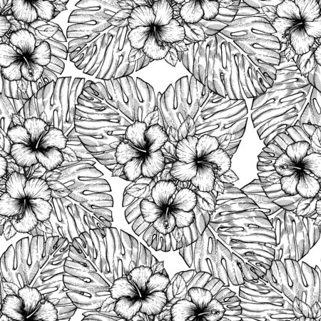 Hand drawn tropical hibiscus flower. Seamless floral pattern with palm leaves on white background. Exotic engraving wallpaper for textile, surface design or banner. Great template for coloring book