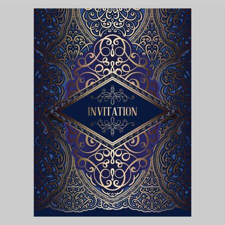 Wedding invitation card with gold and blue shiny eastern and baroque rich foliage. Ornate brocade background for your design. Intricate design template.  イラスト・ベクター素材