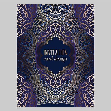 Wedding invitation card with gold and blue shiny eastern and baroque rich foliage. Ornate brocade background for your design. Intricate design template. Vectores