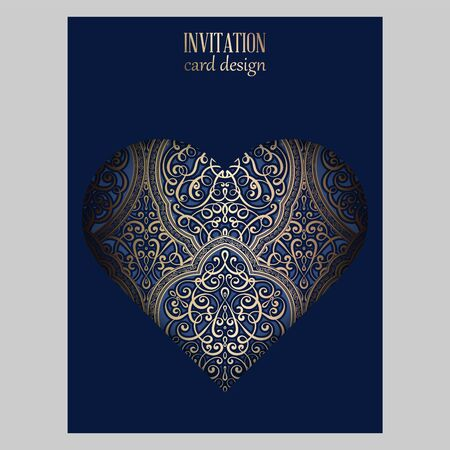 Wedding invitation card with gold and blue shiny eastern and baroque rich foliage. Ornate brocade background with heart shaped cutout for your design. Intricate design template.