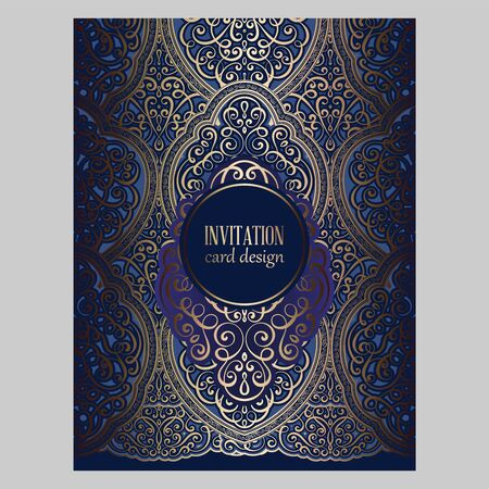 Wedding invitation card with gold and blue shiny eastern and baroque rich foliage. Ornate brocade background for your design. Intricate design template. 向量圖像