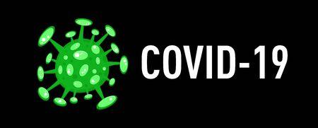 Cartoon concept coronavirus green COVID-19 nCov 2019 virus vector illustration