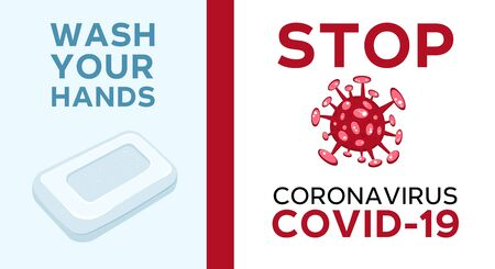 Cartoon concept STOP coronavirus COVID-19 nCov 2019 virus vector illustration isolated on white background. Wash your hands text with a bar of soap.
