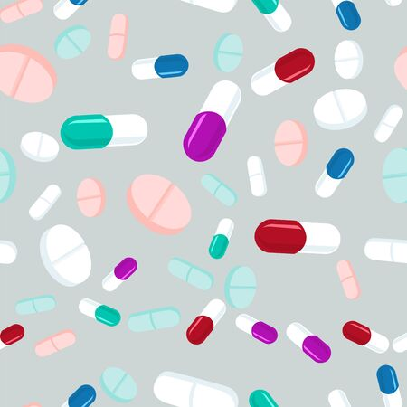Colorful pills seamless pattern. Medicine background, abstract capsules and medical tablets flatlay vector illustration.