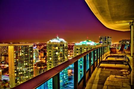 Miami skyline as viewed from balcony