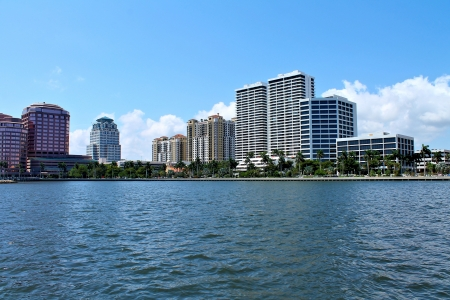 View of luxury condos and hotels in West Palm Beach, FL