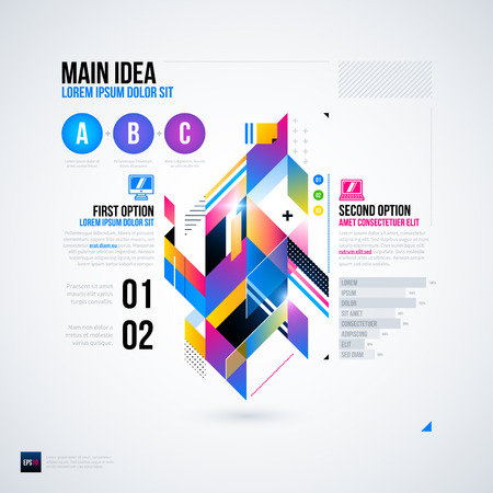 constructivism: Abstract infographics layout with glossy geometric elements. Useful for presentations, web design or other media. vector template.