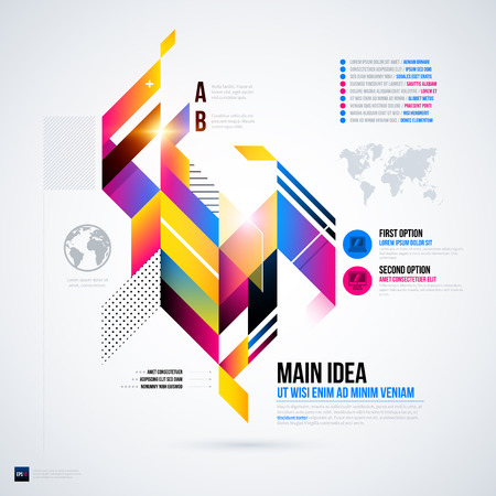 Abstract infographics layout with glossy geometric elements. Useful for presentations, web design or other media. EPS10 vector template.