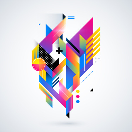 constructivism: Abstract geometric element with colorful gradients and glowing lights. Corporate futuristic design, useful for presentations, advertising and web layouts. vector illustration.