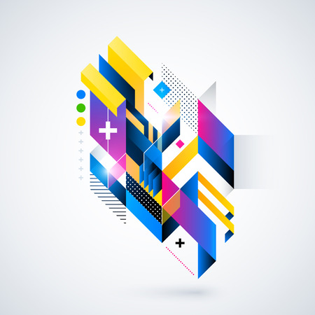 Abstract geometric element with colorful gradients and glowing lights. Corporate futuristic design, useful for presentations, advertising and web layouts. vector illustration.