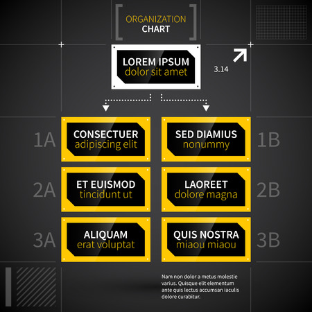 techno: Modern techno organization chart template. Illustration