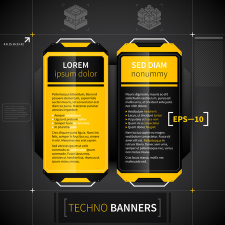 Two vertical banners in techno style. Useful for web design or advertising.