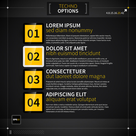 techno: Page layout with four techno options.