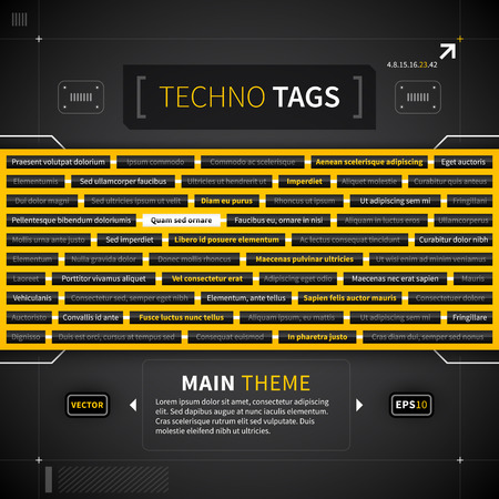 technical term: Tag cloud in techno style. Illustration