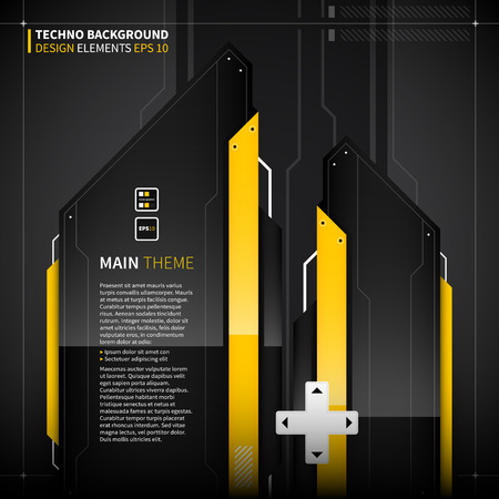 monumental: Abstract techno background with monumental shapes. Illustration