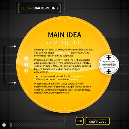 techno background: Techno background with big yellow circle. EPS10. Illustration