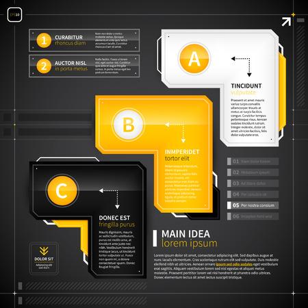 techno: Set of 3 techno options. Illustration