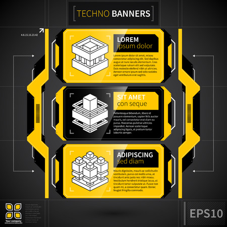 Modern techno layout with three banners and decorative elements.