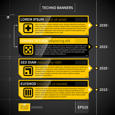 web design: Techno timeline with 4 horizontal banners.
