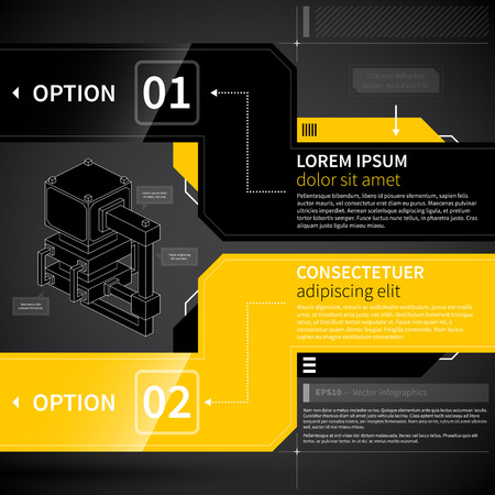 yellow design element: Modern techno layout with two options.