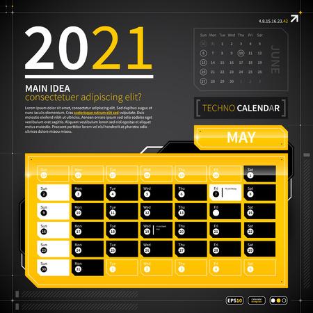 calendar design: Calendar template in techno style.