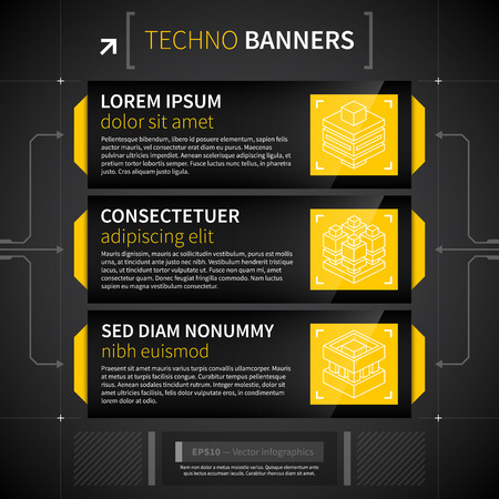Three horizontal banners in techno style.