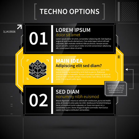 main idea: Modern techno layout with main idea and two options.