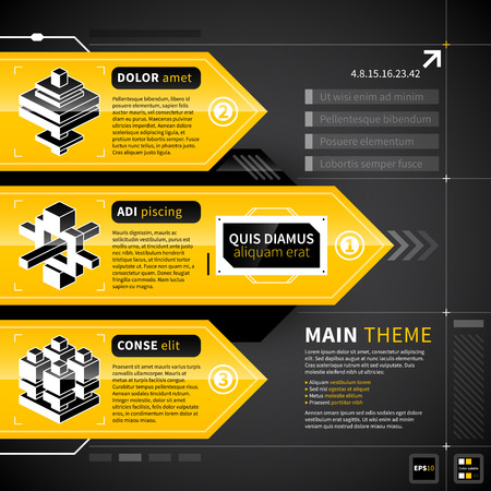 yellow design element: Three techno banners with text and isometric icons.
