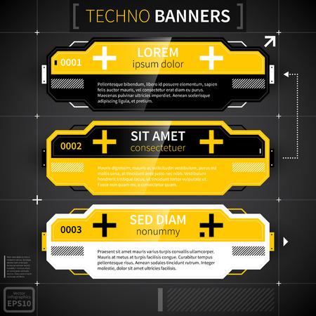 techno: Set of three techno banners. Illustration