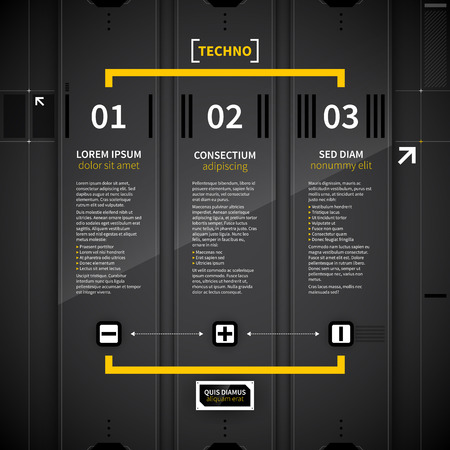 menu elements: Three vertical banners in techno style.