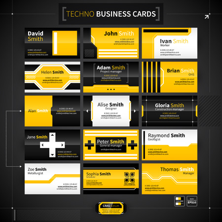 business card layout: Set of 15 business cards in techno style.