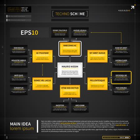 Modèle d'organigramme dans le style techno. Banque d'images - 40449937