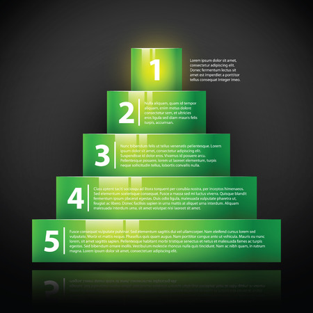 Glossy green pyramid with text and numbers. Useful for infographics, tutorials or advertising.