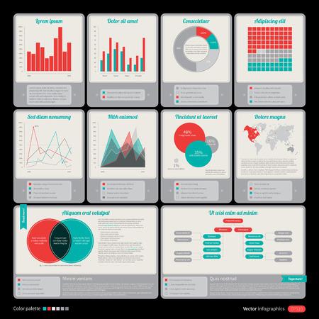 Reeks retro elementen voor infographic ontwerp.
