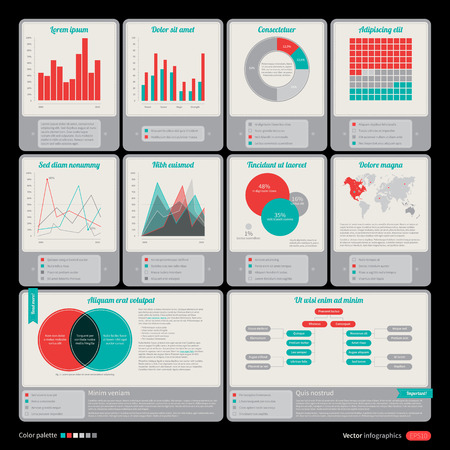graph report: Set of retro elements for infographic design.