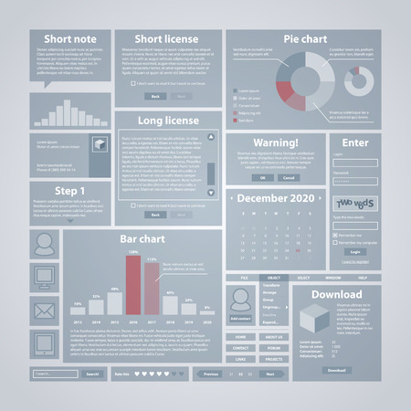 interface design: Interface elements. Useful for software, web and infographic design
