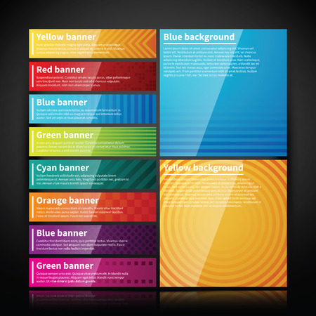 Set of bright glossy banners and two simple backgrounds.